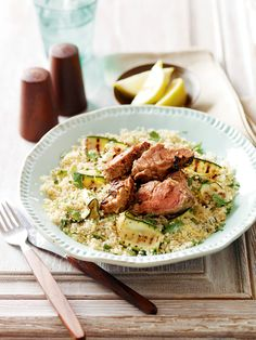 Just 20 minutes stands between you and this Moroccan-style lamb served with couscous.