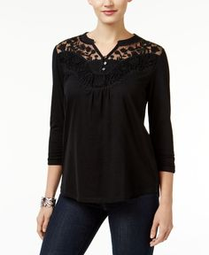 Style & Co. Lace-Neck Embroidered Top, Only at Macy's