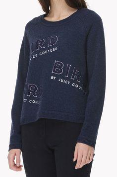 Bird lettering knit sweater