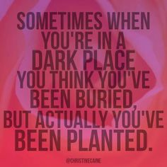 Sometimes when you're in a dark place, you think you've been buried, but actually you've been planted! It's all about perspective. Positive Quotes, Motivational Quotes, Inspirational Quotes, Positive Motivation, Positive Mind, Daily Motivation, Great Quotes, Quotes To Live By, Fabulous Quotes