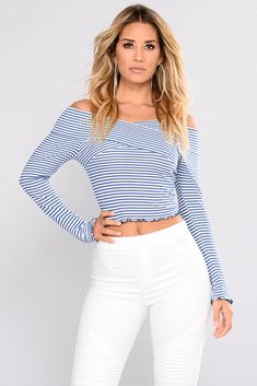 ee421f0a232a1f Christy Striped Top - Blue Combo
