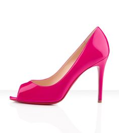 Christian Louboutin - you you patent leather, hot pink, fuxia, special occasion, peep toe, womens shoes