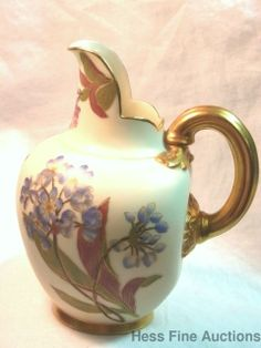 Antique 1880s Royal Worcester Flat Bulbous Small Pitcher ex ms rau etc 35of50