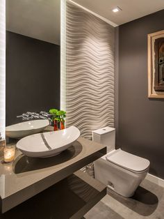 Half Bathroom design Want to refresh your small bathroom decor? Here are Cute and Best Half Bathroom Ideas That Will Impress Your Guests And Upgrade Your House. Gray Bathroom Walls, Modern Bathroom, Small Bathroom, Bathroom Ideas, Bathroom Designs, Bathroom Flooring, Shower Designs, Modern Wall, Modern Contemporary