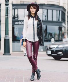 chiffon shirt with burgundy leather trousers