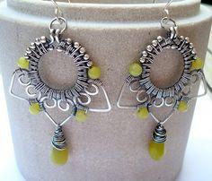Wire Wrapped Jewelry - Wire Wrap Earrings - Lime Green Earrings - Handmade - Art Deco Earrings - Sterling Silver Wire - Gift Idea