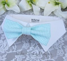 Dog Bow Tie Collar Mint Check Bowtie Dog by DukeNDaisyDesigns, $28.50  #weddingdogs #weddingpets