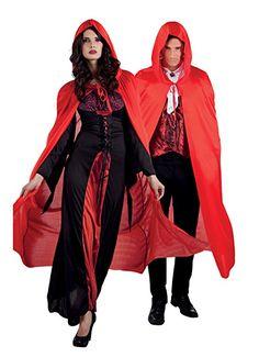 Schwarz Vampir Kostüm Umhang mit Kapuze Kapuzenumhang Allerheiligen Karneval L//P