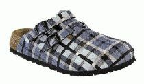 Birkis clogs Kay in size 26.0 N EU made of Birko-Flor in Check Blue Gray with a narrow insole