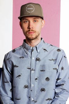 Light blue shirt with shellfish and seagull print by Dedicated Brand Olympia London, Light Blue Shirts, Aw17, Fashion Brands, Chef Jackets, Menswear, Mens Fashion, Pure Products, Denim