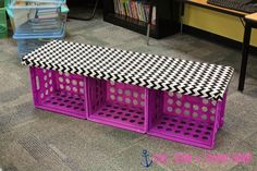 ~Step by step tutorial for this cute crate bench! Done in 30 minutes & NO WOOD! Cute for a classroom library & alternative seating if you make individual crate seats. Classroom Furniture, Classroom Projects, Classroom Design, Classroom Organization, Classroom Ideas, Kindergarten Classroom Setup, Organizing, Preschool Library, Dollar Tree Organization