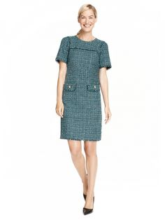 Jade Tweed Shift Dress w/Pockets