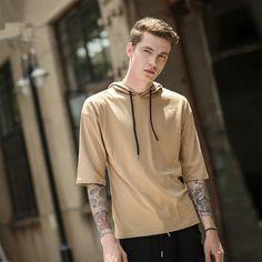 Male Short Sleeve Hoodies Hip Hop Streetwear Fashion Tyga Swagger Hooded Justin Bieber Hooded Mens Gray Hoody Hip hop Tees #Affiliate