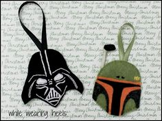 "diychristmascrafts: DIY Felt Star Wars Ornaments Tutorial and Template from While Wearing Heels here. Because nothing says Happy Holidays like Darth Vader and Boba Fett! Truebluemeandyou: Love these right next to the ""melted snowman"" and felt owls :) Star Wars Christmas, Felt Christmas, Christmas Ornaments, Disney Christmas, Christmas Sewing, Christmas Things, Christmas Presents, Christmas Stockings, Star Wars Crafts"