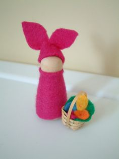 rabbit peg doll - looks like piglet