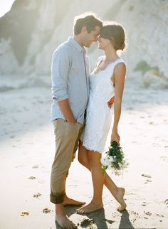 White dress for engagement session on the beach.