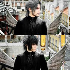 There's a guy staring at the camera in the bottom picture Final Fantasy Xv, Final Fantasy Artwork, Final Fantasy Characters, Fantasy Series, The Sims, Noctis Lucis Caelum, The Evil Within, Fan Art, Cartoon Shows