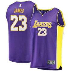 8a72894d Represent your team's distinct on-court look with this Los Angeles Lakers  LeBron James Fast Break Replica jersey from Fanatics Branded.
