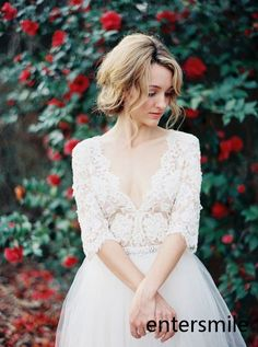 2015 A-Line Deep V-Neck 3/4 Long Sleeves Sheer Lace Wedding Dress Bridal Gown in Clothing, Shoes & Accessories, Wedding & Formal Occasion, Wedding Dresses   eBay