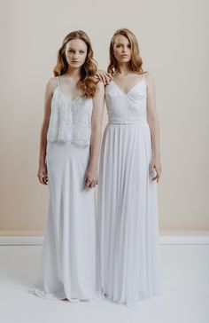 Stunning floor length lace wedding dresses. The right dress has a unique floral lace and sequins embellishment on the upper part and a flowy chiffon skirt - Love it so much! ♥ Simple wedding dress | Boho wedding dress | Romantic wedding dress | Vintage wedding dress | See more @ http://www.whiteandlace.com/