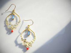 14k Gold Fill Hoop EarringsRed Corla lSwarovski by OstaraTokyo,