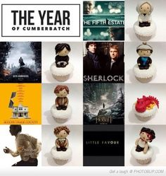 """The Year Of Benedict Cumberbatch Cupcakes.  A lovely """"batch"""" of cupcakes!  Too cute to eat."""