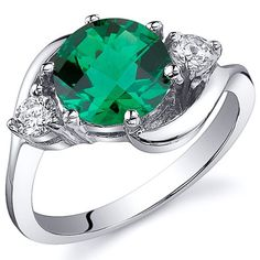 3 Stone Design 1.75 carats Emerald Ring in Sterling Silver Rhodium Finish Available Sizes 5 to 9 - Fashion Jewelry
