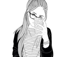 Images of hipster love drawings - Tumblr Outline, Outline Art, Outline Drawings, Love Drawings, Drawing Sketches, Art Drawings, Drawing Ideas, Tumblr Girl Drawing, Tumblr Drawings