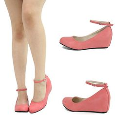 Blush Pink Mary Jane Ankle Strap Low Med Wedge Heel Ballet Flat Pump Sandal Sz 9 | eBay