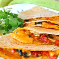 "Farmer's Market Vegetarian Quesadillas I ""That method means both tortillas are crispy, without adding any oil! These are a favorite in our house!"""