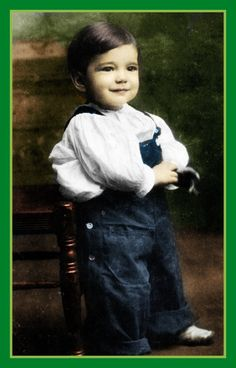 Humphrey Bogart, age 2, was used as a child model for baby food ads. B/W Photo Colourised by Pearse.