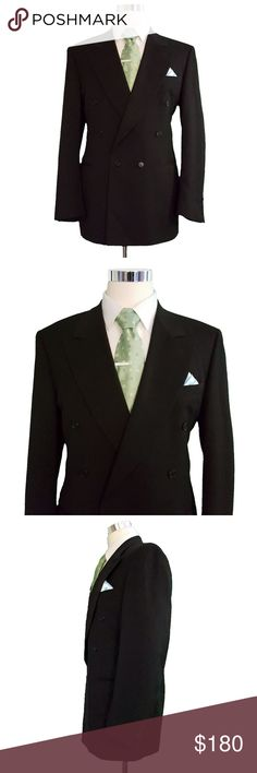 a7ee63ab66bb7c Canali Mens Double Breasted Wool Blazer 42L Black Canali Mens Double  Breasted Wool Blazer Size: