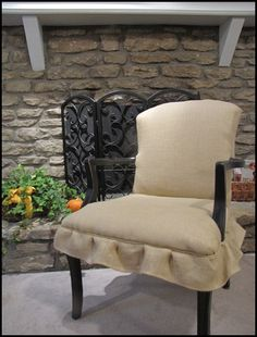 chair redo with burlap