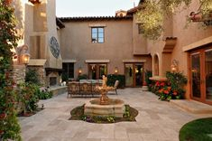 spanish courtyard design with fountain and furniture : Spanish Courtyard Design. courtyard design ideas,courtyard design inspiration,courtyard home design,spanish courtyard design ideas,spanish courtyard pictures Spanish Style Bathrooms, Spanish Style Homes, Spanish House, Spanish Colonial, Spanish Design, Design Patio, Courtyard Design, House Design, Courtyard Ideas
