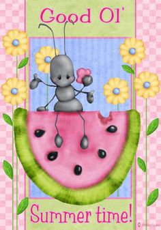 Shelly Comiskey of Simply Shelly Designs clipart Summer Fun, Summer Time, Summer Ideas, Frog Illustration, Watermelon Art, Watermelon Patch, Arte Country, Country Paintings, Tole Painting