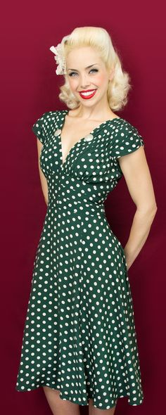 The Trashy Diva 1940's Dress in Irish Polka is back in stock! Grab yours while you still can! #trashydiva1940sdress #trashydivairishpolka