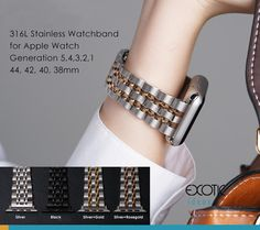 Stainless Steel Watch Band for Apple Watch Seven Beads Loop Strap with Butterfly Buckle Apple Watch Accessories, 316l Stainless Steel, Watch Bands, Exotic, Butterfly, Watches, Beads, Bracelets, Jewelry