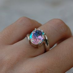 Vintage Badavici Mystic Topaz Sterling Silver Ring by MintAndMade, $150.00