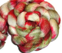 Spring Flower SW Merino Wool Silk Roving - Hand dyed Spinning Fiber Pink Green White