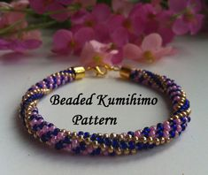 Beaded kumihimo pattern strips bracelet от ForCraftoLovers на Etsy