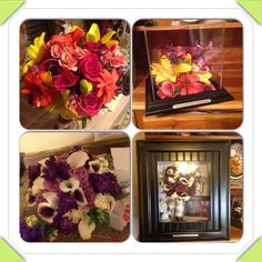 Before and after...dried flowers, wedding bouquet...bright and colorful...calla lily, lisianthus, yellow Lillie's, orange gerbers  www.suspendedintimeoflayton.com Flower Preservation, How To Preserve Flowers, Calla Lily, Dried Flowers, Wedding Bouquets, Bright, Colorful, Orange