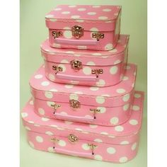 Set of 4 cases in polkadot design ~ dots & pink, ooh bonus!