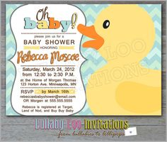 Rubber Duck Baby Shower Invitations Product No 077 by LullabyLoo