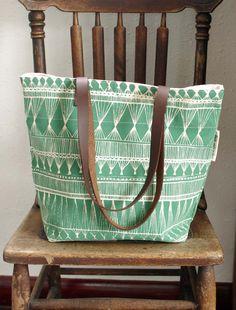 screen printed tote bag  Green Market Weave by SlideSideways, $64.00
