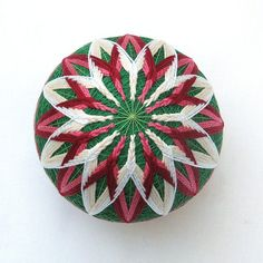Temari Ball Japanese Thread Ball Ornament Christmas Poinsettia Wrapped in a Take-Out Box