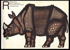 Celestino Piatti's Animal ABC, written & illustrated by Celestino Piatti, 1966. #rhino #illustration #celestino #piatti