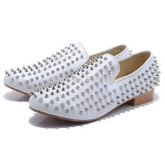Cheare Red Bottoms Rollerboy Spikes Mens Flat Shoes White Leather alishoppbrasil