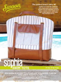 Sewing Patterns Sophia Swim Tote - Swoon Sewing Patterns - The perfect large beach or pool carry-all tote bag sewing pattern Bag Patterns To Sew, Pdf Sewing Patterns, Shopper Tote, Sewing Projects For Beginners, Lining Fabric, Sewing Hacks, Sewing Ideas, Sewing Tips, Sewing Tutorials