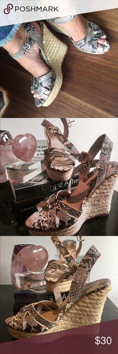 Zara Collection Zara wedge sandals, snake print, size 40, worn twice. Zara Shoes Wedges