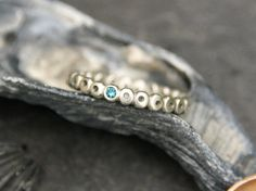 Blue Diamond Ring in Sterling Silver